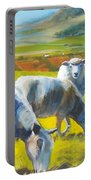 Three Sheep On A Devon Cliff Top Portable Battery Charger