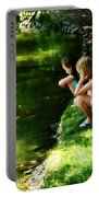 Three Sisters Watching Koi Portable Battery Charger