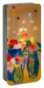 Three Vases Of Flowers Portable Battery Charger