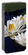 Three White Tropical Water Lilies Version 2 Portable Battery Charger