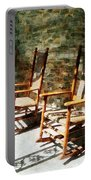 Three Wooden Rocking Chairs On Sunny Porch Portable Battery Charger