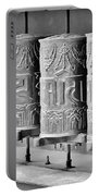 Tibetan Prayer Wheels - Black And White Portable Battery Charger