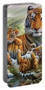 Tiger And Cubs Portable Battery Charger by Adrian Chesterman