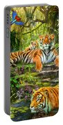 Tiger Family At The Pool Portable Battery Charger