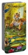 Tiger Family In The Jungle Portable Battery Charger by Jan Patrik Krasny