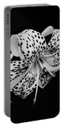 Tiger Lily In Black And White Portable Battery Charger