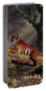 Tiger On A Log Portable Battery Charger by Daniel Eskridge