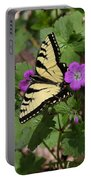 Tiger Swallowtail Butterfly On Geranium Portable Battery Charger
