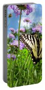 Tiger Swallowtail On Pincushion Flowers Portable Battery Charger