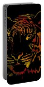 Tiger Watercolor - Black Portable Battery Charger