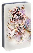 Tiger With Cub Watercolor Portable Battery Charger