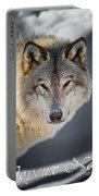 Timber Wolf Christmas Card French 21 Portable Battery Charger