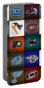 Time To Lace Up The Skates Recycled Vintage Hockey League Team Logos License Plate Art Portable Battery Charger