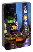 Times Square In The Rain Portable Battery Charger