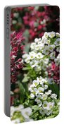 Tiny Pink And Tiny White Flowers Portable Battery Charger