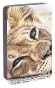 Tired Young Lion Portable Battery Charger