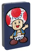 Toad From Mario Brothers Nintendo Original Vintage Recycled License Plate Art Portrait Portable Battery Charger