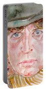 Tom Baker Doctor Who Watercolor Portrait Portable Battery Charger