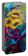 Too Delicate For Words - Yellow Flowers And Red Grapes Portable Battery Charger