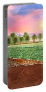 Torn Paper Fields Of Green And Brown Portable Battery Charger