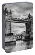 Tower Bridge In London Uk Black And White Portable Battery Charger
