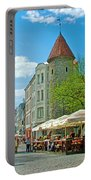 Towers As Gateways To Old Town Tallinn-estonia Portable Battery Charger