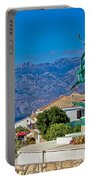 Town Of Razanac With Velebit Background Portable Battery Charger