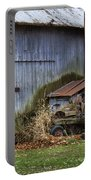 Tractor And Barn On Cloudy Day Portable Battery Charger