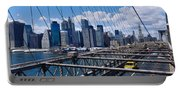 Traffic On A Bridge, Brooklyn Bridge Portable Battery Charger