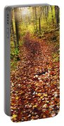 Trail In Fall Forest Portable Battery Charger