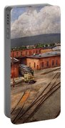 Train - Entering The Train Yard Portable Battery Charger by Mike Savad