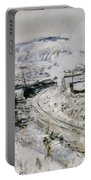 Train In The Snow At Argenteuil Portable Battery Charger by Claude Monet
