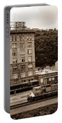 Train Passes Station Square Pittsburgh Antique Look Portable Battery Charger