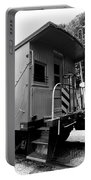 Train - The Caboose - Black And White Portable Battery Charger