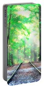 Train Tracks In Forest Portable Battery Charger