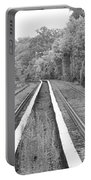 Train Tracks Running Through The Forest Portable Battery Charger