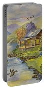 Tranquil Log Cabin Portable Battery Charger