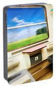 Travel In Comfortable Train. Portable Battery Charger