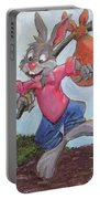 Traveling Rabbit Portable Battery Charger by Terry Lewey