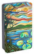 Tree And Lilies At Sunrise Portable Battery Charger