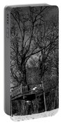 Tree House In Black And White Portable Battery Charger