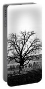 Tree In Black And White Portable Battery Charger