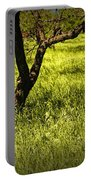Tree Trunks In A Peach Orchard Portable Battery Charger