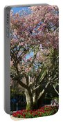 Tree With Pink Flowers Portable Battery Charger