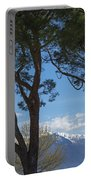 Trees And Snow-capped Mountain Portable Battery Charger