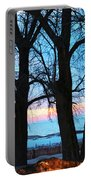 Trees And Sunset Portable Battery Charger