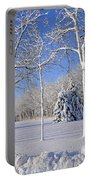 Trees In Snow  Wisconsin Portable Battery Charger by Anonymous