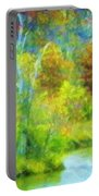 Trees In Spring On A Lake Portable Battery Charger