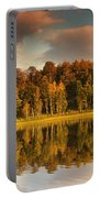 Trees Lining The Waters Edge Reflected Portable Battery Charger