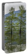 Trees On A Flooding Alpine Lake Portable Battery Charger